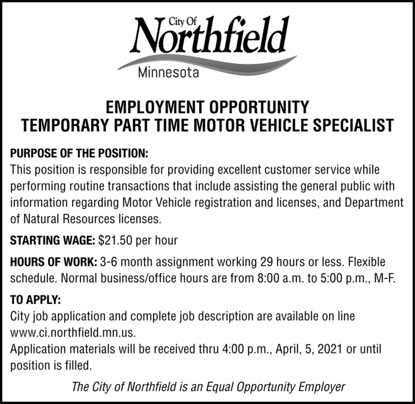 Temporary Part Time Motor Vehicle Specialist