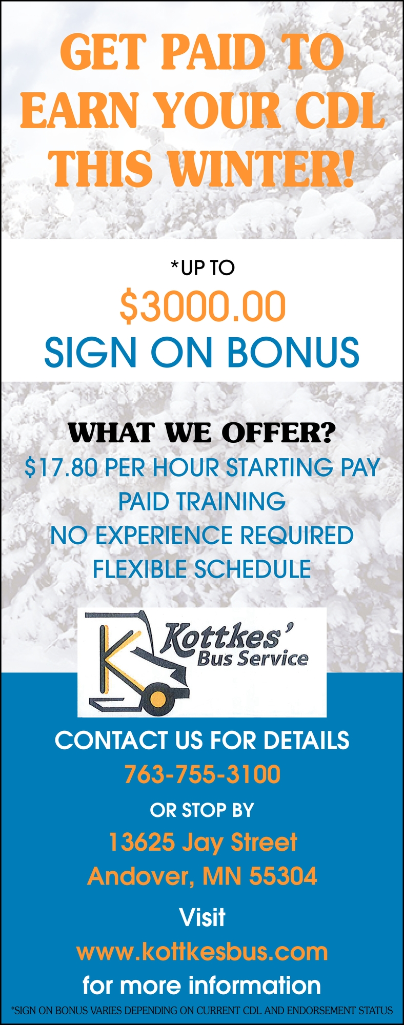 Get Paid To Earn Your CDL This Winter