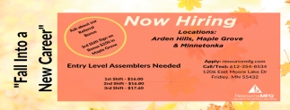 Entry Level Assemblers Needed