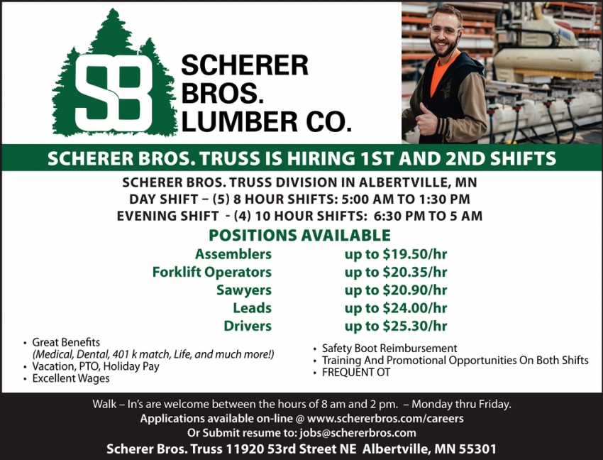 Hiring 1st and 2nd Shifts