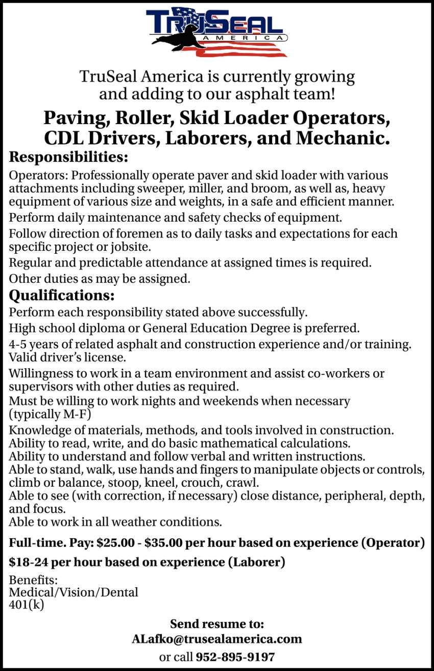 Paving, Roller, Skid Loader Operators, CDL Drivers, Laborers, Mechanic