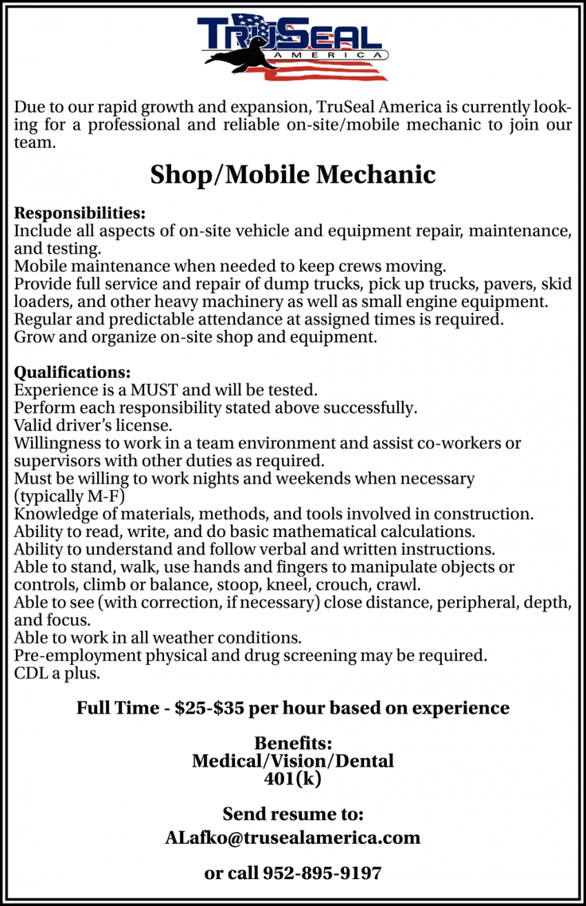 Shop, Mobile Mechanic