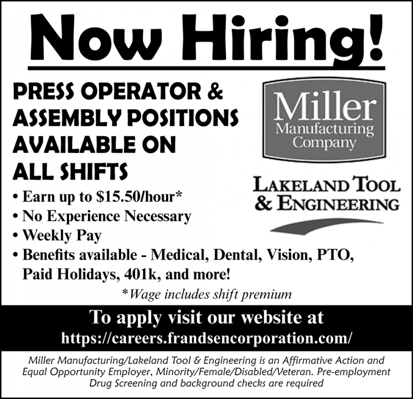 Press Operator & Assembly Positions