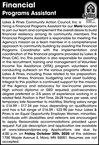 Financial Programs Assistant