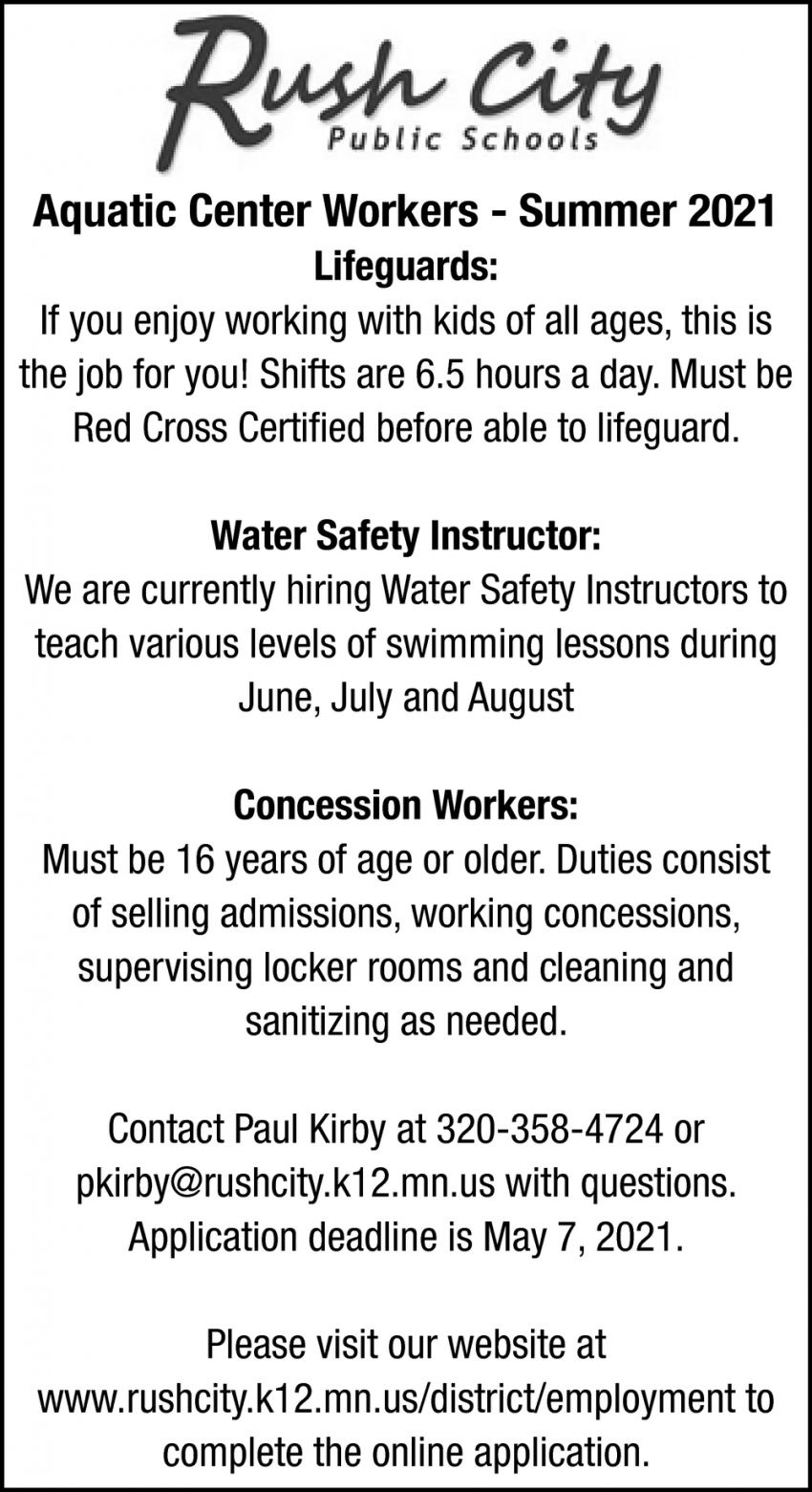 Aquatic Center Workers, Lifeguards, Water Safety Instructor, Concession Workers
