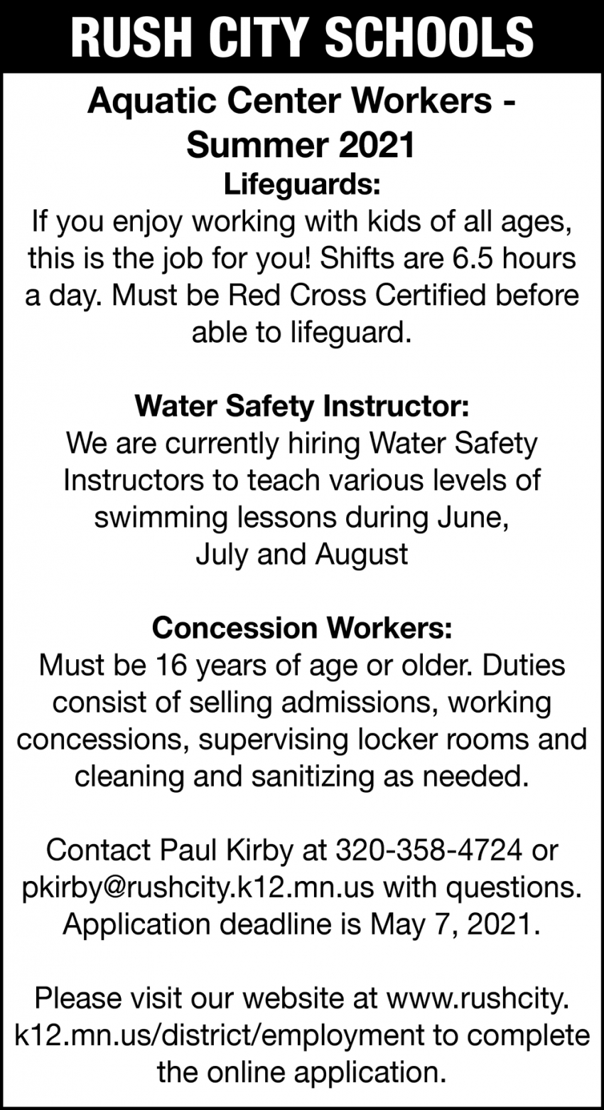 Lifeguards, Water Safety Instructor, Concession Workers