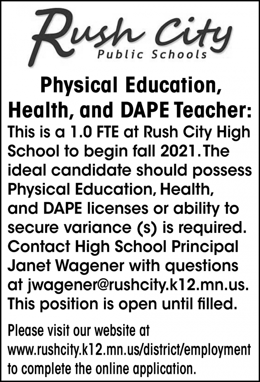 Physical Education, Health and DAPE Teacher