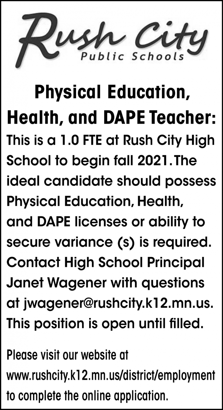 Physical Education Health, and DAPE Teacher