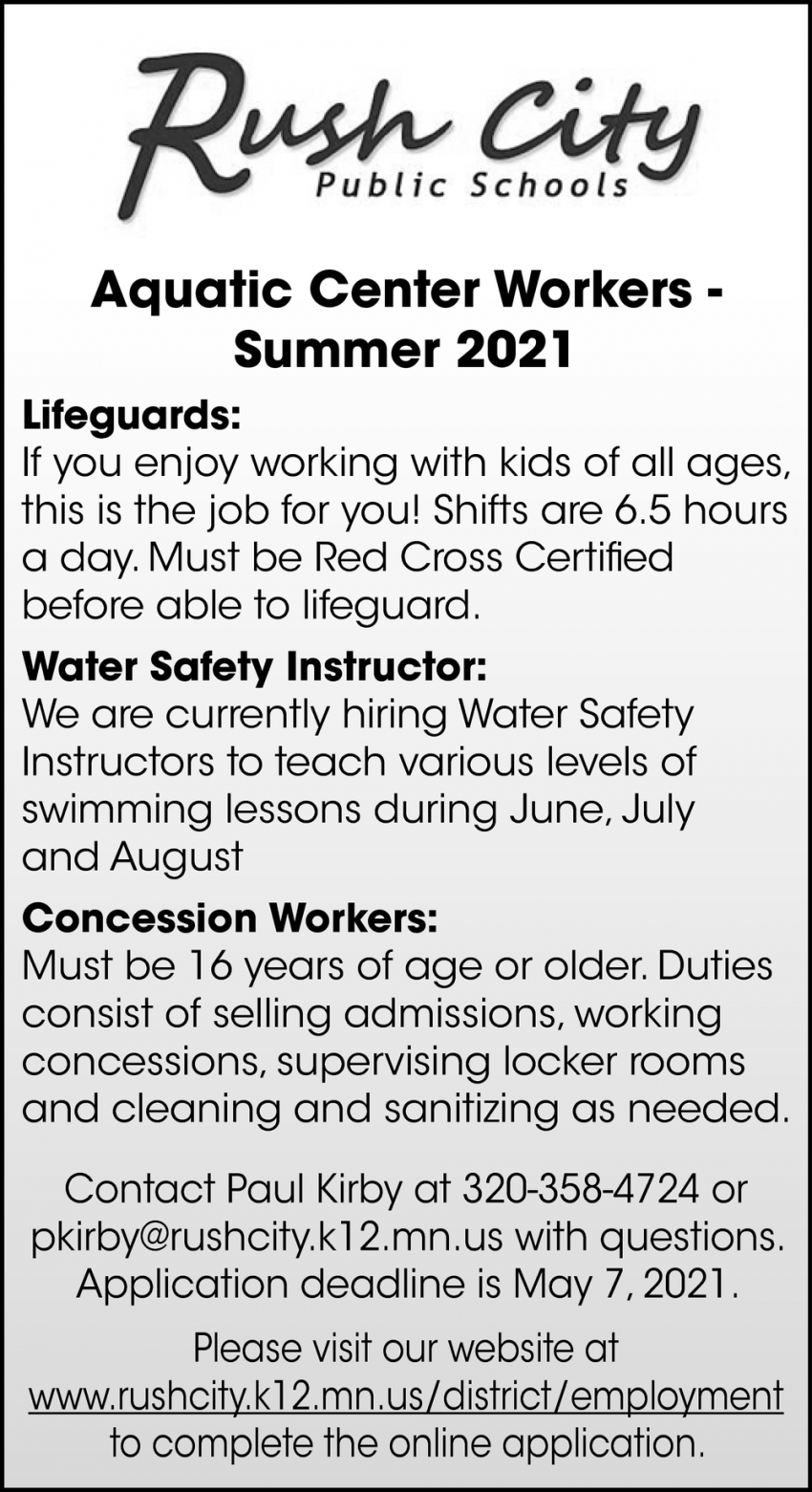Aquatic Center Workers - Summer 2021