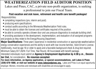 Weatherization Field Auditor Position