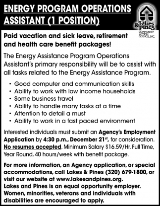 Energy Program Operations Assistant