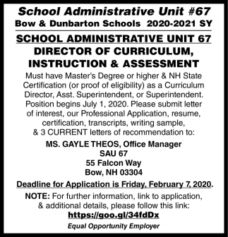 Director Of Curriculum, Instruction & Assessment