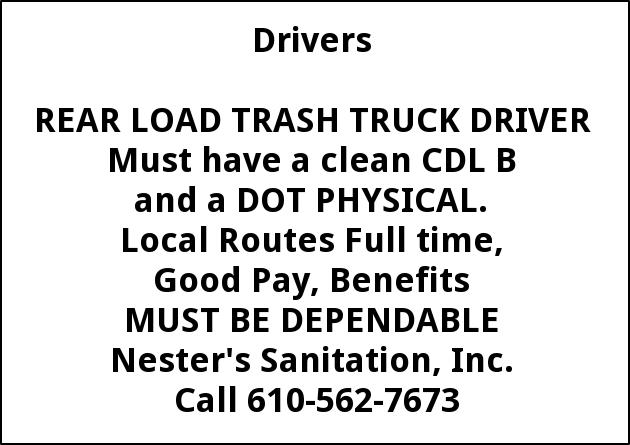 Rear Laod Trash Truck Driver