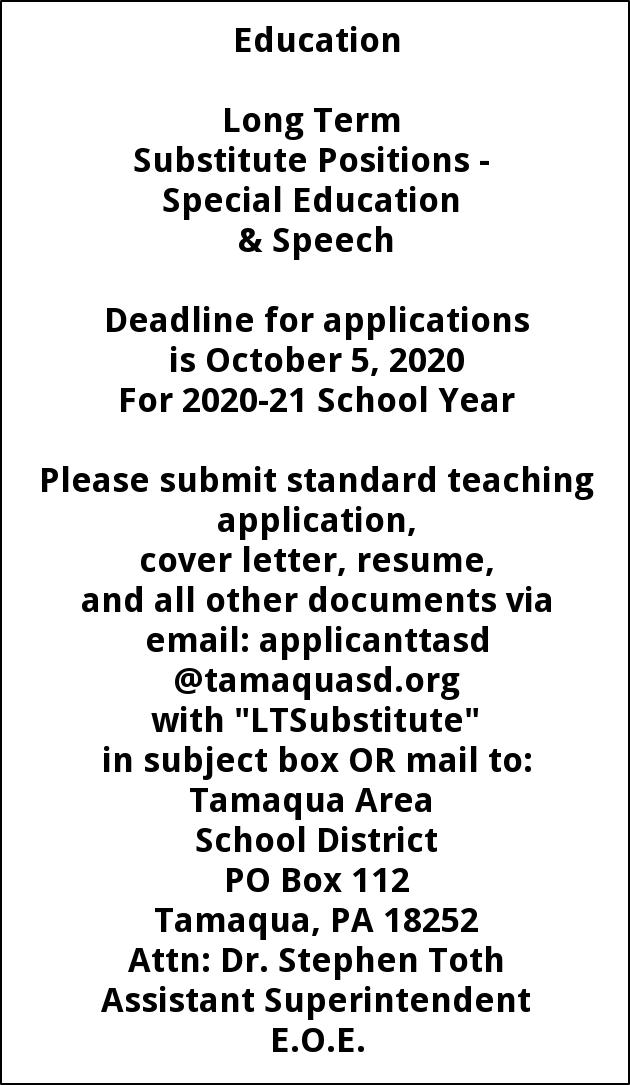 Long Term Substitutes Special Education & Speech