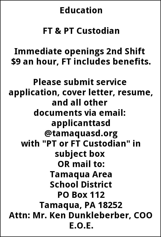 FT & PT Custodian