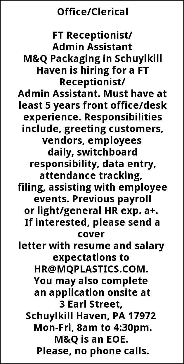 FT Receptionist/Admin Assistant