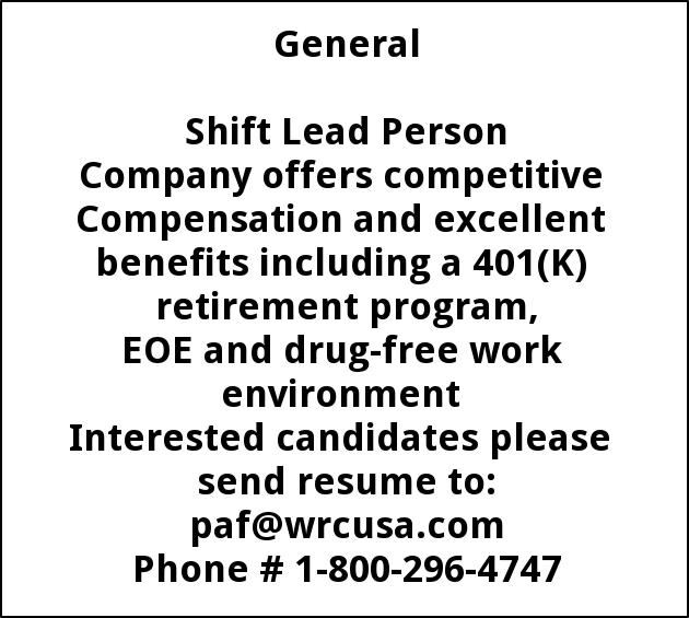 Shift Lead Person