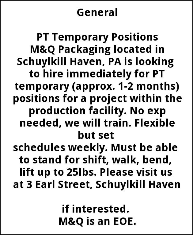 PT Temporary Positions