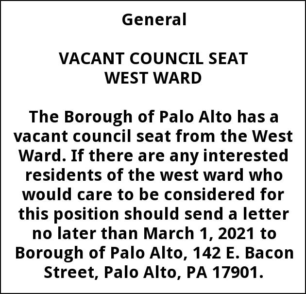 Vacant Council Seat West Ward