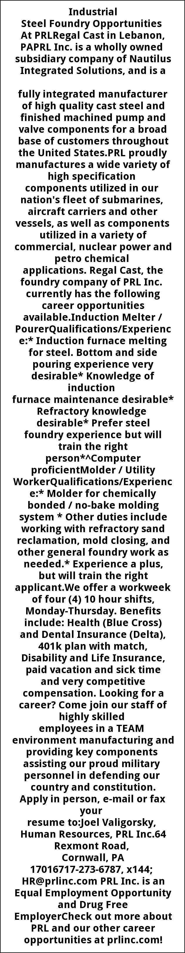 Steel Foundry/Induction Melter