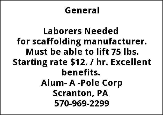 Laborers Needed