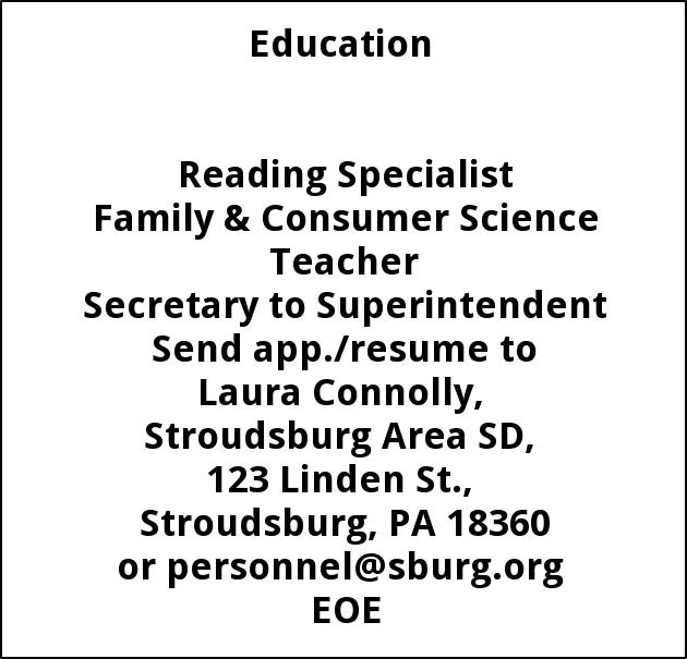 Reading Specialist, Family & Consumer Science Teacher, Secretary to Superintendent