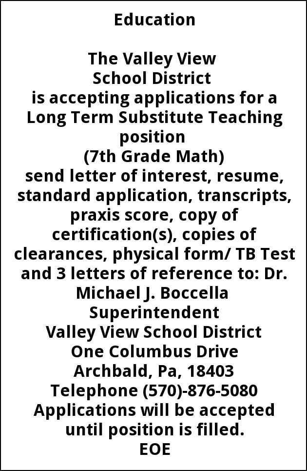 Long Term Substitute Teaching position   (7th Grade Math)