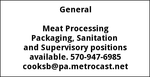 Meat Packaging, Sanitation, Supervisory Positions