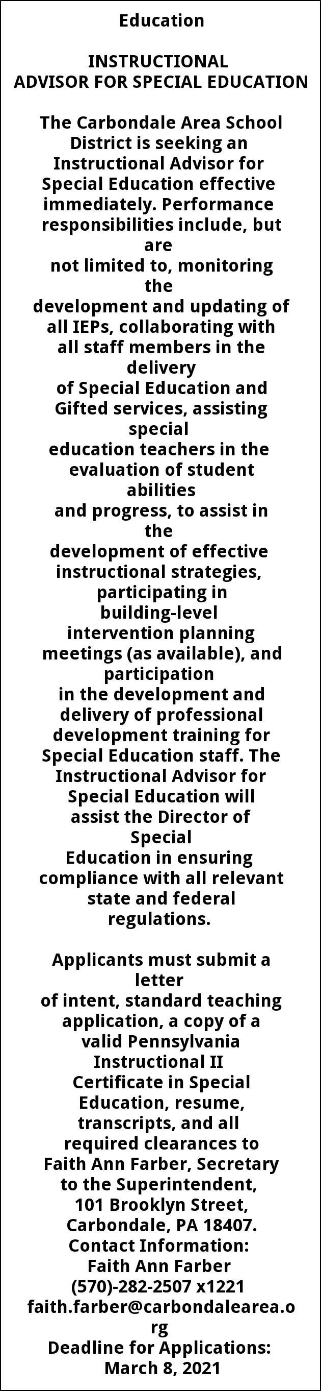 Instructional Advisor for Special Education