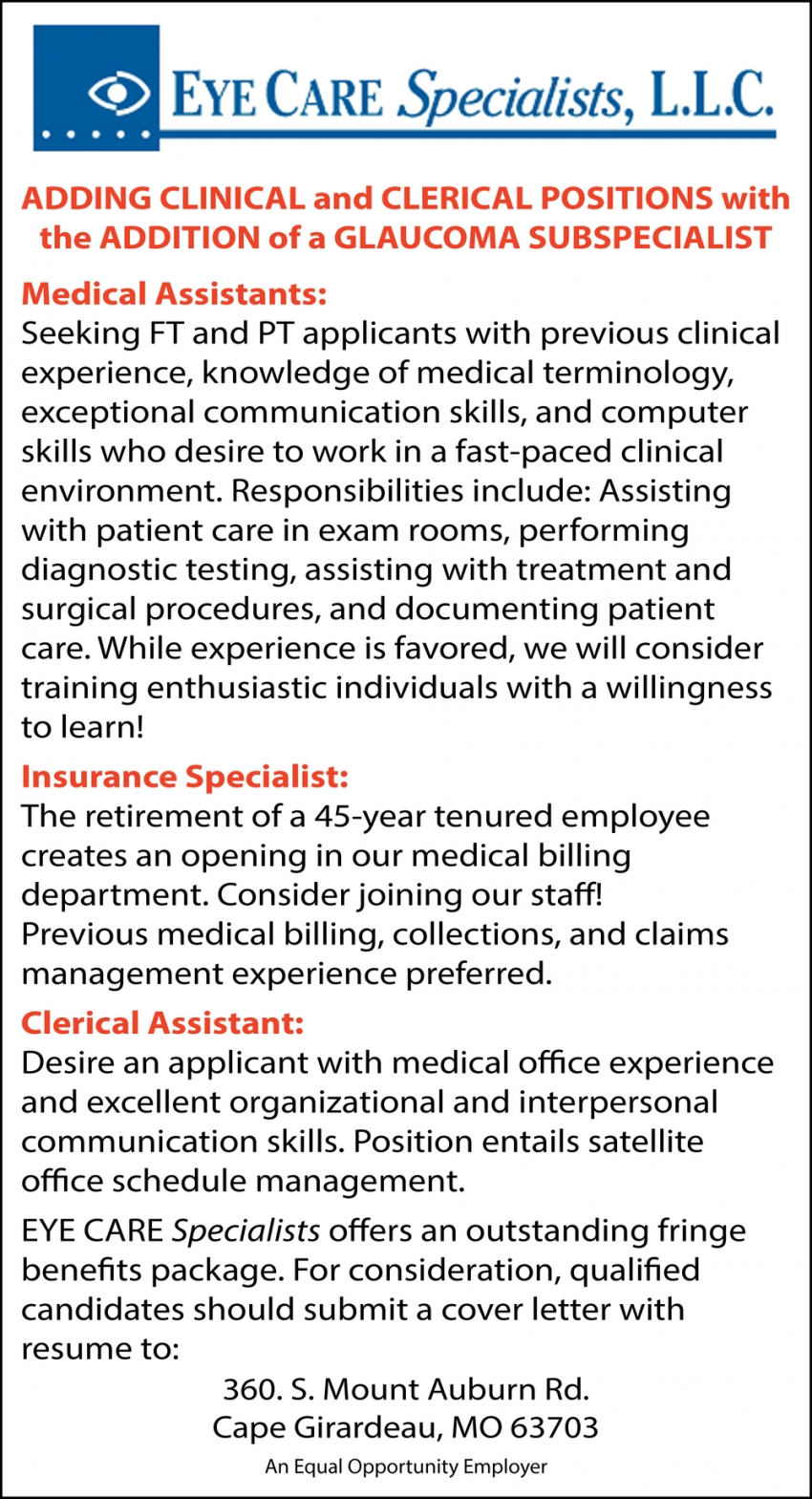 Medical Assistants & Insurance Specialist, Eye Care ...