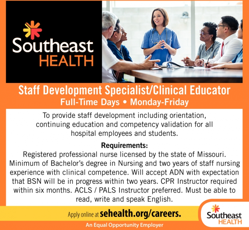 Staff Development Specialist/Clinical Educator