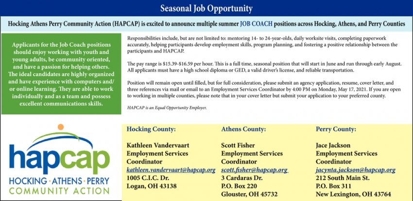 Seasonal Job Opportunity