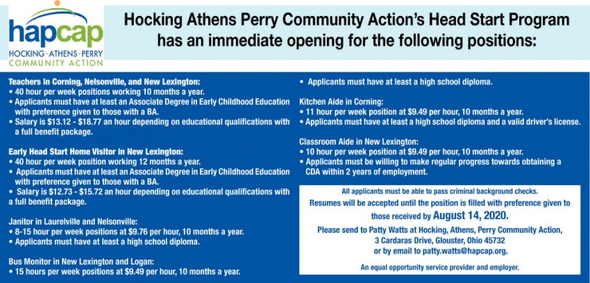 Hocking Athens Perry Community Action Has An Immediate Opening For The Following Positions