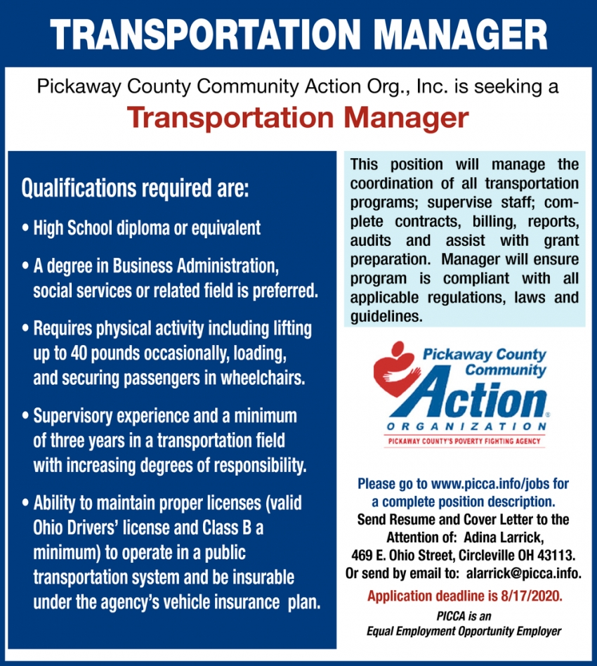 Transportation Manager Needed
