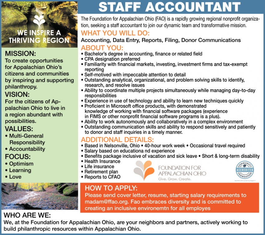 Staff Accountant Needed