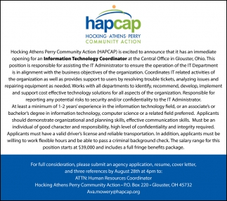 Has An Immediate Opening For An Information Technology Coordinator