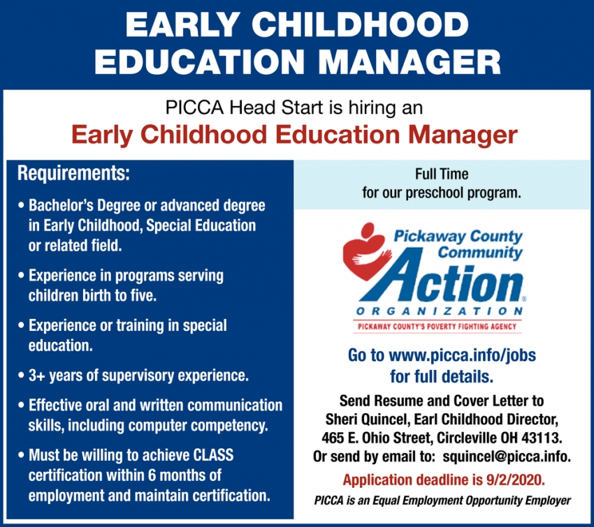 Early Childhood Education Manager Needed