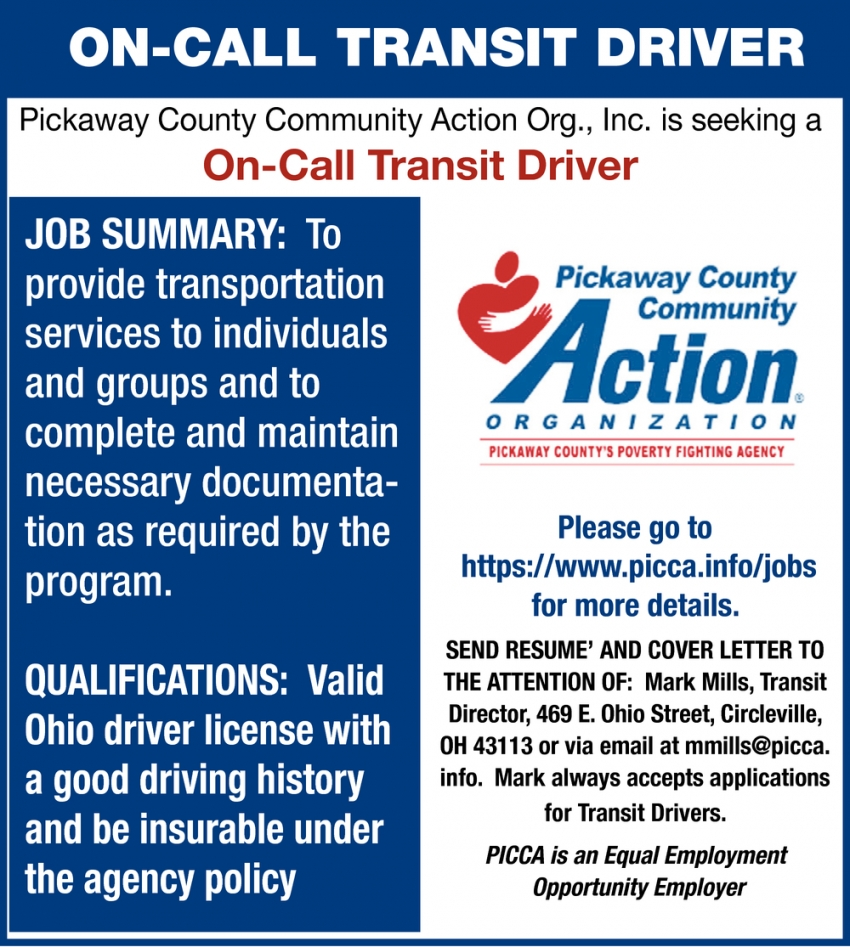 On-Call Transit Driver Wanted