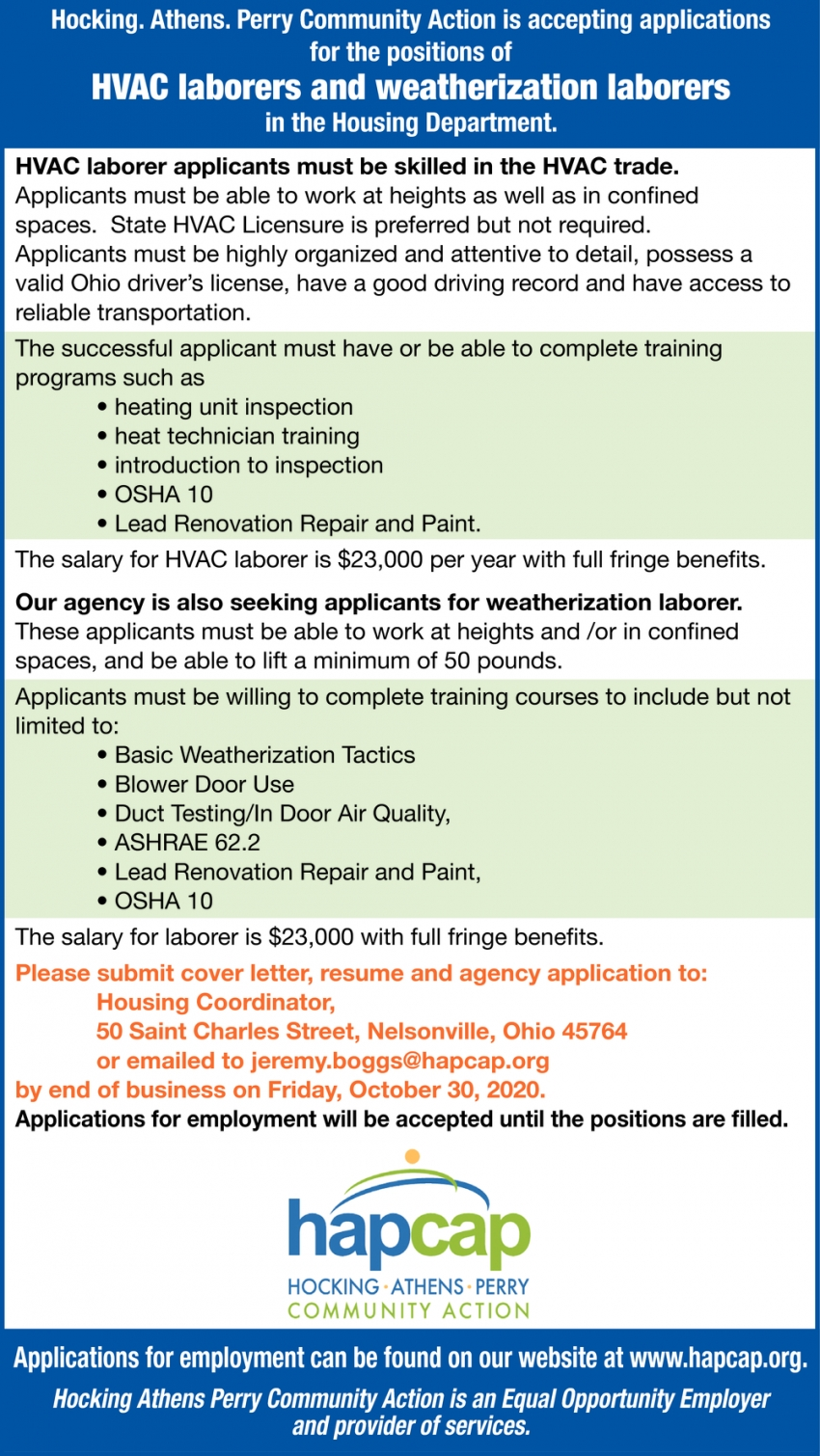 HVAC Laborers And Weatherization Laborers