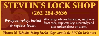 We Open, Rekey, Install & Replace Locks