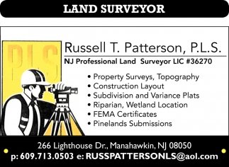 NJ Professional Land Surveyor LIC