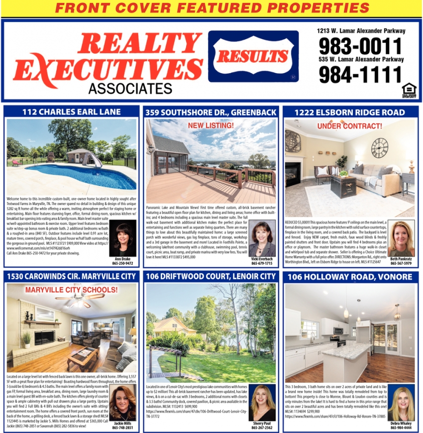 Front Cover Featured Properties