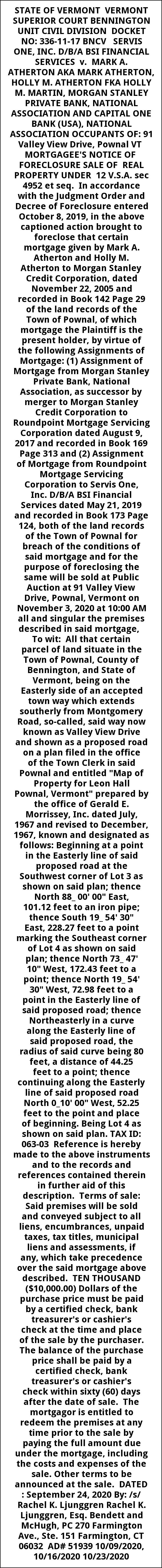 Notice Of Foreclosure Sale of Real Property