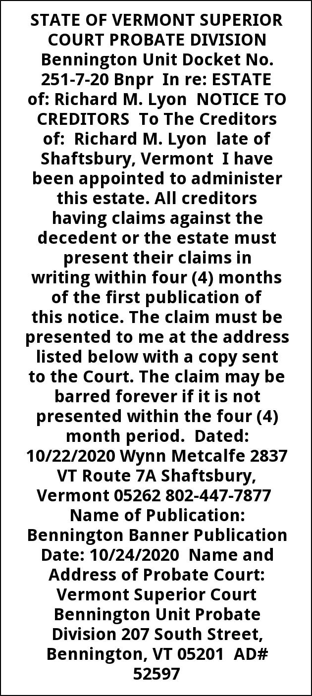 Notice to Creditors