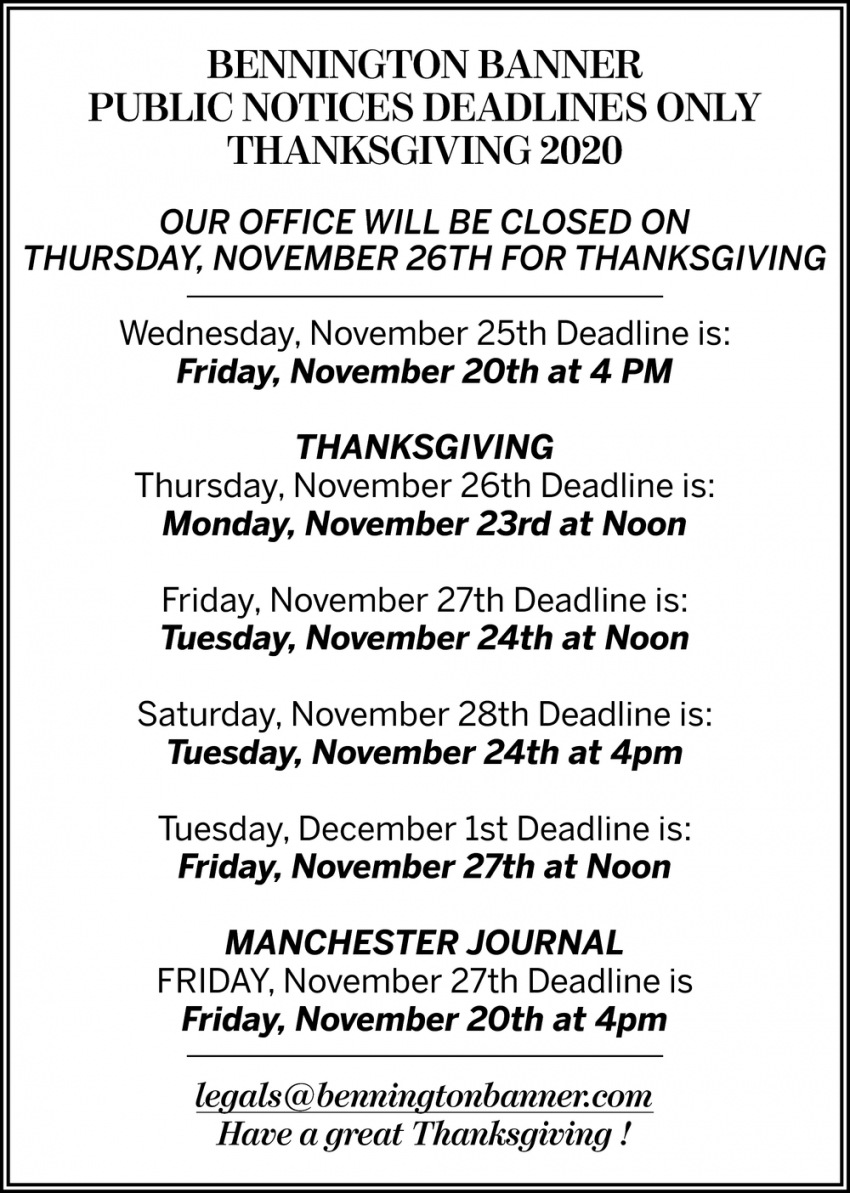Our Office Will Be Closed On Thursday