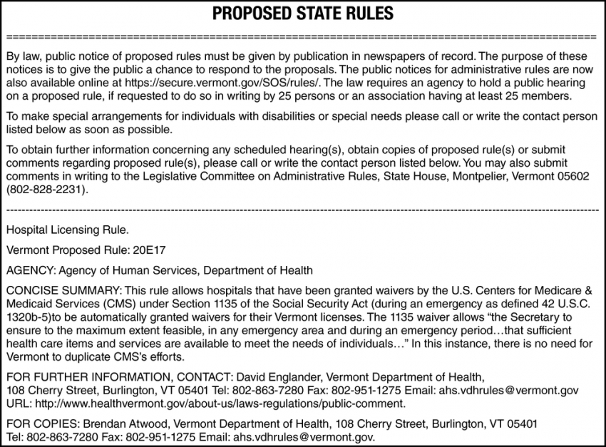 Proposed State Rules