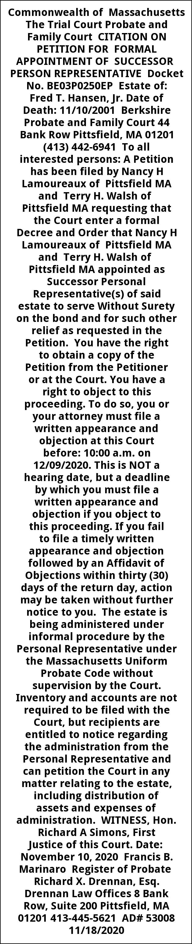Citation On Petition for Formal Apointment Of Successor
