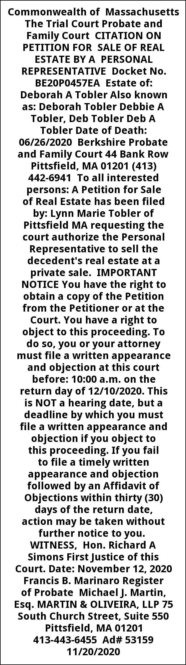 Citation On Petition For Sale Of Real Estate