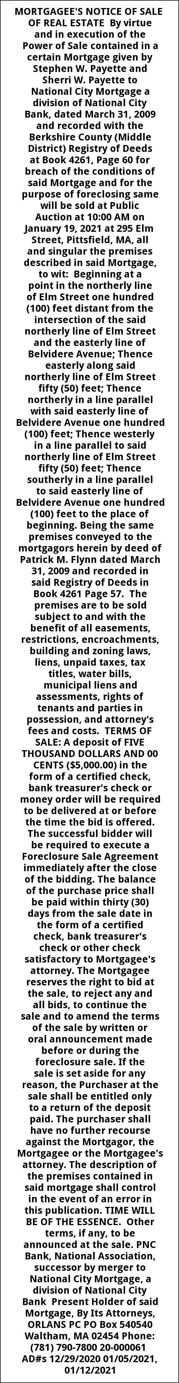 Mortagee's Notice Of Sale Of Real Estate
