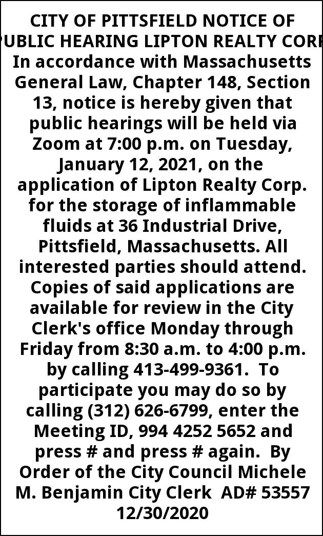 Notice Of Publc Hearing